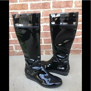 Cole Haan Black Tall Patent Leather Wedge Boot 7AA